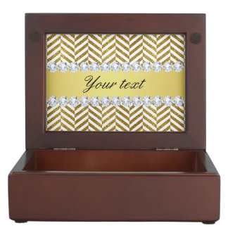 Personalized Faux Gold Foil Chevron Bling Diamonds Keepsake Box