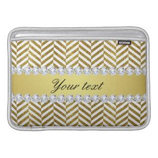 Personalized Faux Gold Foil Chevron Bling Diamonds MacBook Air Sleeve