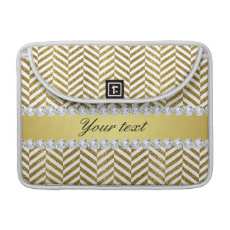 Personalized Faux Gold Foil Chevron Bling Diamonds MacBook Pro Sleeves