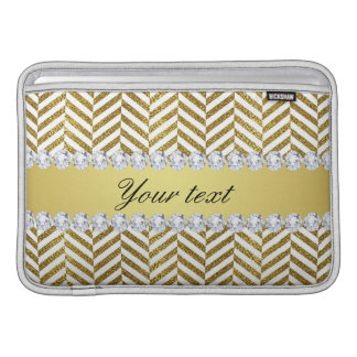 Personalized Faux Gold Foil Chevron Bling Diamonds MacBook Sleeve