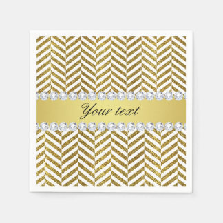Personalized Faux Gold Foil Chevron Bling Diamonds Paper Napkin