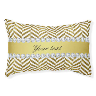 Personalized Faux Gold Foil Chevron Bling Diamonds Pet Bed