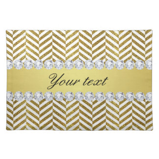 Personalized Faux Gold Foil Chevron Bling Diamonds Placemat