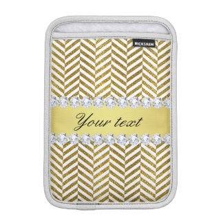 Personalized Faux Gold Foil Chevron Bling Diamonds Sleeve For iPad Mini