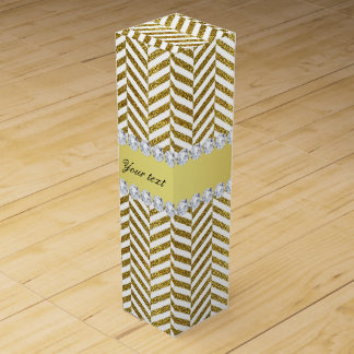 Personalized Faux Gold Foil Chevron Bling Diamonds Wine Gift Box