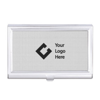 Personalized Faux Linen Grey with Logo Business Card Holder