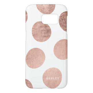 Personalized faux rose gold hand drawn polka dots