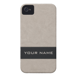 Personalized Faux White Leather Case-Mate iPhone 4 Case