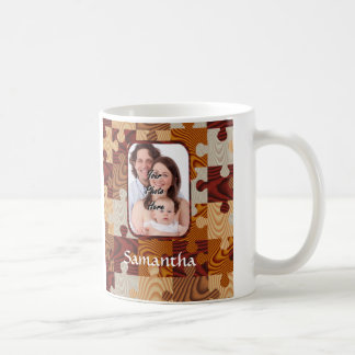 Personalized faux wood jigsaw coffee mug