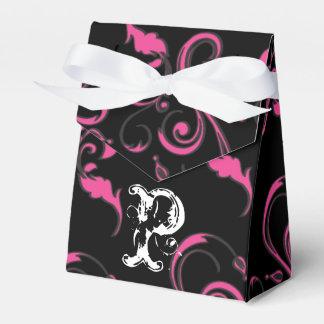 Personalized Favor Box - Monogram Hot Pink Black Favour Box