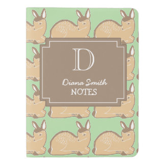 Personalized Fawns Green and Brown Notebook