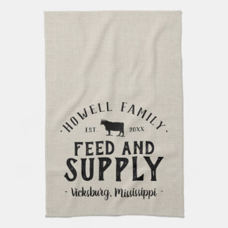 Personalized Feed Supply Grain Sack Tea Towel
