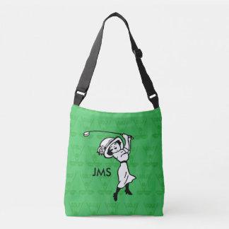 Personalized female golf cartoon golfer crossbody bag