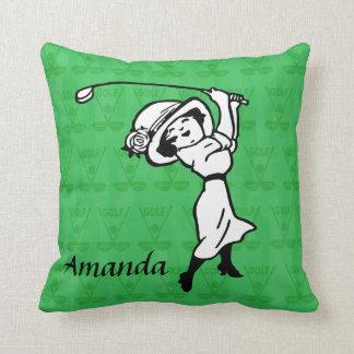 Personalized femalle golf cartoon golfer throw pillow