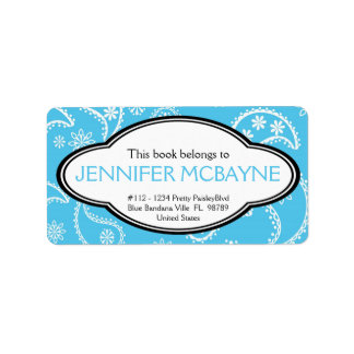 Personalized Feminine Blue Paisley Print Bookplate Label