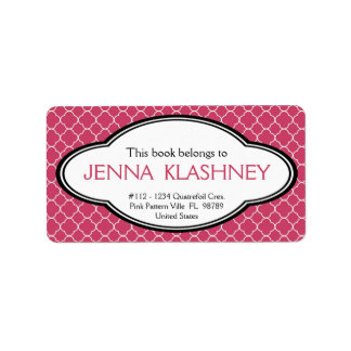 Personalized Feminine Patterned Bookplate Address Label