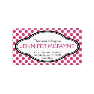 Personalized Feminine Pink Polkadots Bookplate Label