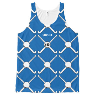 Personalized Field Hockey Team Name Jersey Number All-Over Print Tank Top