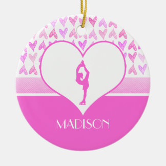 Personalized Figure Skater Pink Watercolor Hearts Ceramic Ornament