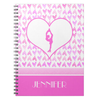 Personalized Figure Skater Pink Watercolor Hearts Notebook
