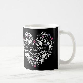 Personalized Filigree Heart, Wedding Date Names Coffee Mug