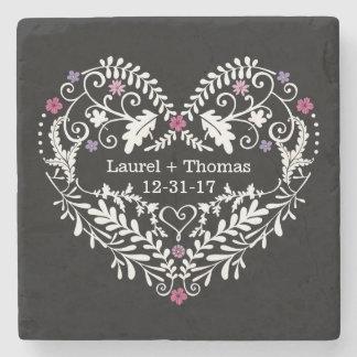 Personalized Filigree Heart, Wedding Date Names Stone Coaster