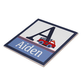 Personalized Fire Engine Truck Letter Name Tile