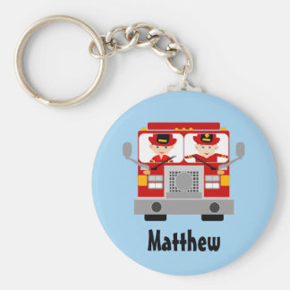 Personalized Fireman And Fire Engine Key Chain