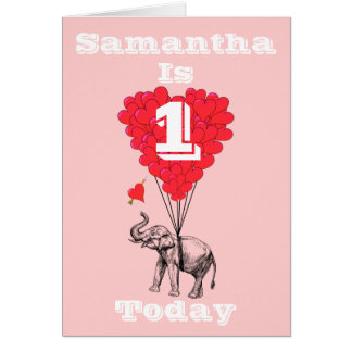 Personalized first Birthday Note Card