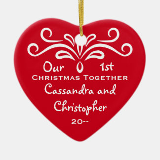 Personalized First Christmas together heart Ceramic Heart Decoration