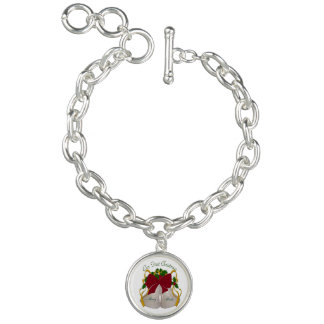 Personalized First Christmas Wedding Bell Bracelet
