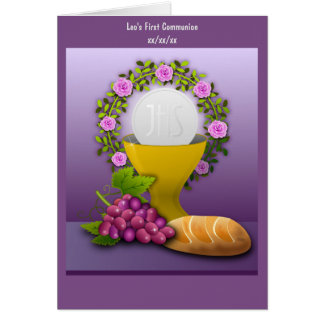 Personalized First Communion Holy Eucharist Photo Card
