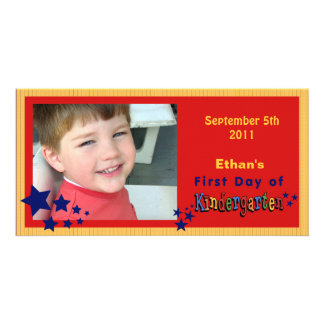 Personalized First Day of Kindergarten Custom Card