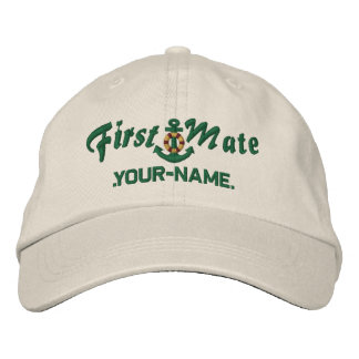 Personalized First Mate Lifesaver Anchor Green Embroidered Baseball Cap