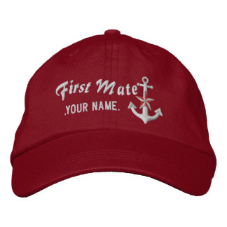 Personalized First Mate Nautical Anchor White Embroidered Baseball Caps