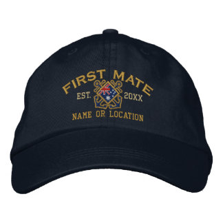 Personalized First Mate Nautical Australia Flag Embroidered Baseball Caps