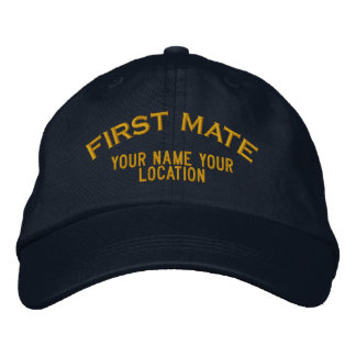Personalized First Mate Nautical Style Hat Embroidered Hat