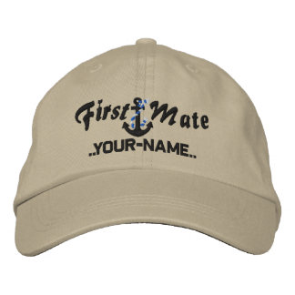 Personalized First Mate Rope Anchor Black Embroidered Baseball Cap