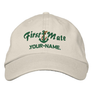 Personalized First Mate Rope Anchor Green Embroidered Baseball Cap