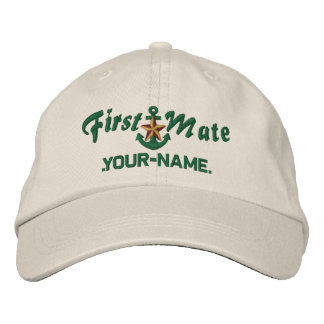 Personalized First Mate Star Anchor Green Embroidered Hat
