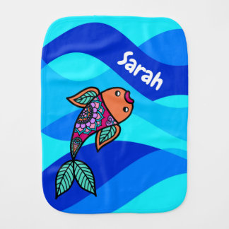 Personalized Fish Blue Wavy Patterned Burp Cloth