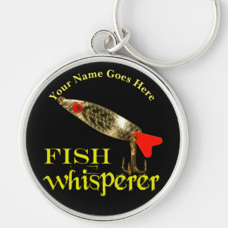 Personalized Fish Whisperer Silver-Colored Round Key Ring