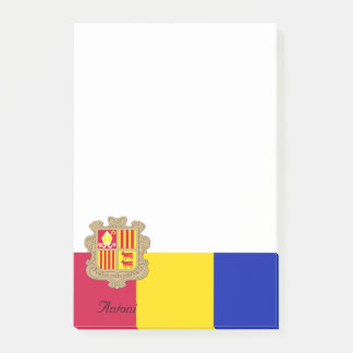 Personalized Flag of Andorra Blue Yellow Red Post-it Notes