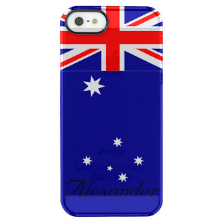 Personalized Flag of Australia Red White and Blue Clear iPhone SE/5/5s Case