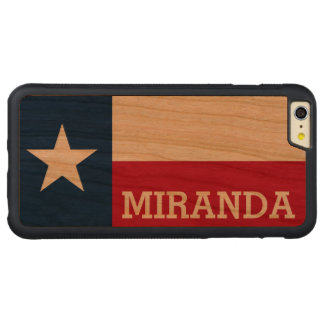 Personalized Flag of Texas Carved Cherry iPhone 6 Plus Bumper Case