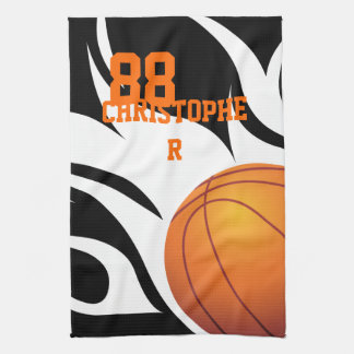 Personalized Flaming Basketball Black and White Tea Towel
