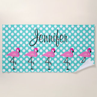 Personalized Flamingo and Polka Dot Beach Towel