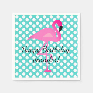 Personalized Flamingo and Polka Dot Paper Napkin