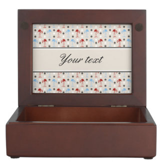 Personalized Flamingos and Polka Dots Pattern Keepsake Boxes