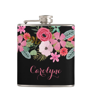 Personalized flask floral black pink Add your name
